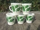 Hazel Atlas Christmas Punch Mug Cup Eggnog Milk Glass Holly Leaf Set of 5 Cups