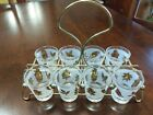 VINTAGE METAL CADDY WITH 8 Golden foliage libbey shot glasses
