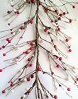 AR52 Fall Primitive Pip and Holly Berry Garland in Red  White Color 54 5ft