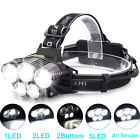 80000LM 5Modes 5-LED Headlamp Head Light Flashligt Rechargeable Torch Lamp