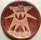 Vintage SANTA CLARA POLISHED RED POTTERY DISH w MOTH DESIGN, c. 1920-40s