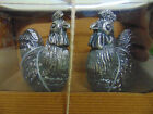 NEW Silver Metal Servewear ROOSTER SALT  PEPPER SHAKERS Figural Country Chicken