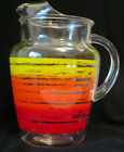 Anchor Hocking Vintage Lemonade Pitcher Red Orange Yellow Banded 1960-1970's