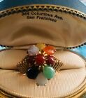 1970s Chinese Jade Cluster Cocktail Dome Ring 14K Gold Just Fabulous