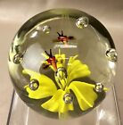 Paperweight Art Glass Bumble Bee Insect Fly Bug Yellow Flower RD27X