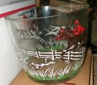 Vtg. 1950's Hazel Atlas Glass Ice Bucket Fox Hunt Horse Riding Equestrian Themed