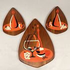 Belart Mid Century MoD, Teak Art Wall Hanging Plaques Wine Cocktail Theme, Eames