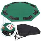 48 Folding Octagon Poker Card Game Table Top w Cup Chip Holders Blackjack Party
