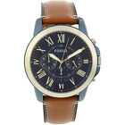 Fossil Men's Grant FS5151 Brown Leather Japanese Quartz Dress Watch