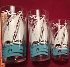 Sail Away in a Blue Boat,Three Ship Decorated Theme Tumblers Anchor Hocking 50's