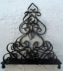 Vintage Wrought Iron Scroll Black Napkin or Letter Holder Pedestal Made in Spain