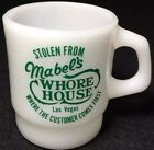 Rare Vintage AH Fire King Advertising D Handle Mug Cup (Mabel's Whore House)