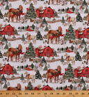 Cotton Christmas Horses Barns Winter Holiday Cotton Fabric Print by Yard D40006