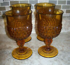 Vintage Set of 4 Diamond Point Amber Indiana Glass 12 oz. Goblets /Wine Glasses