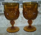 Vintage Set of 2 Diamond Point Amber Indiana Glass 12 oz. Goblets /Wine Glasses