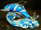 Vintage Hand Blown Murano Blue  White Art Glass Dolphin Riding The Waves Excell