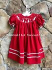 Smocked A Lot Girls Christmas Nativity Bishop Dress Red Corduroy Manger Scene