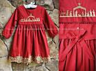 Smocked A Lot Girls Christmas Dress Red Gold Nativity Manger Classic Jesus