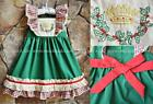 Smocked A Lot Girls Christmas Dress Red Green Nativity Scene King Manger Crown