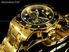 Invicta Men Pro Diver Scuba Chrono 18KT Gold Plated Stainless St Black Dial Watc