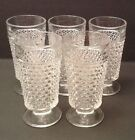 5 Glass Tumblers Hobnail Pattern Bubble Dot Clear Footed Drinking Glasses Water
