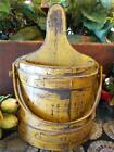 VINTAGE PAINTED YELLOW 1/2 FIRKIN BUCKET WALL POCKET HANGING FARMHOUSE PRIMITIVE