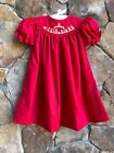 Smocked A Lot Girls Christmas Nativity Bishop Dress Red Gold Manger Scene