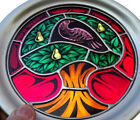 1976 FRANKLIN MINT STAINED GLASS CHRISTMAS PARTRIDGE IN A PEAR TREE PEWTER PLATE