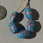 5 old antique venetian blue french cross fancy beads african trade 1737