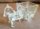 VTG Jeanette Glass Donkey Horse Trinket Candy Planter Bowl Buggy Cart Carriage