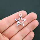 6 Star Charms Antique Silver Tone 2 Sided Double Star Charm SC4513