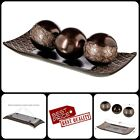 Set Of 3 Coffee Table Mantle Centerpiece Bowl Orbs Ball Coffee Table Decor Brown