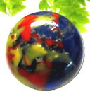 UNUSUAL ANTIQUE LEO POPPER BUTTON COBALT BLUE GLASS WITH COLORFUL SPATTER H86