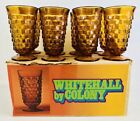 8 Amber Indiana Glass Iced Tea Glasses Footed Whitehall Colony 14oz Original Box