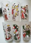 Vintage Federal Gay Fad Glasses Christmas Angels Hand Painted Fran Taylor Set 6