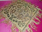 Small Antique brocade table mat with silk fringes