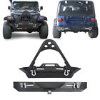 Hooke Road Front Bumper + Rear Bumper w LED Lights for Jeep Wrangler TJ YJ