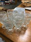 6 Small Anchor Hocking Wexford Diamond Cut Crystal Footed Pedestal Goblet 5 1/2