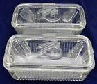 Set Of 2 Federal Glass Vegetable Pattern Refrigerator Dishes With Lids