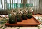 Vtg Forest Green Glasses Set of 4 Ice Tea Tom Collins Water Tumblers ~ Christmas