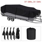 17 24Ft Pontoon Boat Cover Waterproof Heavy Duty Fabric Fishing Ski Trailerable
