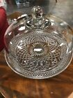 Vintage Anchor Hocking Wexford Glass Pedestal Cake Stand and Dome Set Diamond !!