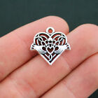 2 Celtic Heart Charms Antique Silver Tone Claddagh Attached Jump Ring SC5216