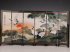 CHINESE LACQUER DECORATION SCREEN CRANE MASCOT COLLECTION VINTAGE C01