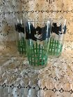 Vintage Glass Scottie Dog Scottish Terrier Drinking Glasses Tumblers Green Fence