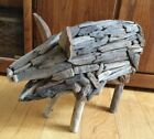Folk Art Large Pig Sculpture Hand Made Wood 20 x 14 iinches Great personality!