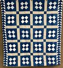 Farmhouse PA c 1890-1900 Nine Patch ANTIQUE Quilt Indigo Blue Flying Geese