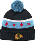 Youth Chicago Blackhawks Chicago Flag Cuffed Knit Pom Hat NHL Official Reebok