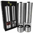Salt and Pepper Mill Stainless Steel Automatic Spice Electric Grinder 2 Pcs Set