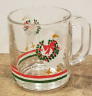 Libbey Christmas Goose Glass Mug or Cups Holiday Wreath- Set of 4